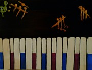 Piano Keys Painting Originals - A Home Made Piano by Marie Bulger