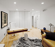 Home Office Furniture Framed Prints - A Home Office. A Black And White Zebra Framed Print by Christian Scully