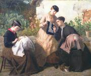 Jardins Paintings - A Honiton Lace Manufactory by Frederick Richard Pickersgill