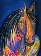 Horse Head Pastels Framed Prints - A Horse of a Different Color Framed Print by Jennifer Addington