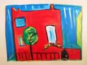 Primitive Raw Art Paintings - A House with a Smile to Give by Mary Carol Williams