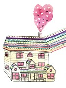 Residential Structure Digital Art Prints - A House With Hearts Coming Out Of The Chimney Print by Brooke Weeber