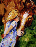 Equine Artist Prints - A Hug from a Friend Print by Laurie Pace