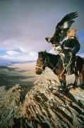 Ethnic And Tribal Peoples Posters - A Hunter On Horseback Atop A Hill Poster by David Edwards