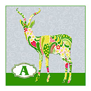 Educational Painting Metal Prints - A is for Antelope Metal Print by Elaine Plesser