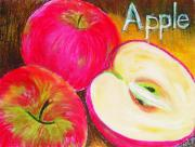Juicy Pastels Posters - A is for Apple Poster by Sherlyn Andersen