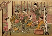 Prostitution Prints - A Japanese Brothel In Shinagawa, Shows Print by Everett
