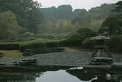 Japanese Lanterns Framed Prints - A Japanese Garden Near The Imperial Framed Print by Justin Guariglia