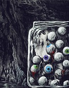 Surrealistic Paintings - A Jar of Eyeballs by David Junod