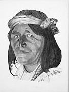 Pencil Native American Drawings - A Jemez Indian by Randy Reed