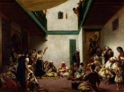 North Africa Framed Prints - A Jewish wedding in Morocco Framed Print by Ferdinand Victor Eugene Delacroix