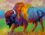 Prairies Painting Posters - A Journey Still Unknown - Bison Poster by Marion Rose