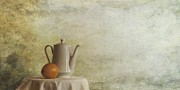Fruit Still Life Metal Prints - A Jugful Tea And A Orange Metal Print by Priska Wettstein