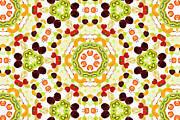 Lifestyle Art Posters - A Kaleidoscope Image Of Fresh Fruit Poster by Andrew Bret Wallis