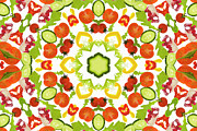 Fruit Art Framed Prints - A Kaleidoscope Image Of Salad Vegetables Framed Print by Andrew Bret Wallis