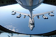Tanker Framed Prints - A Kc-135 Stratotanker Refuels A B-52 Framed Print by Stocktrek Images