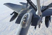 A Kc-135 Stratotanker Refuels An F-15e Print by Stocktrek Images