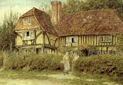 Country Cottage Framed Prints - A Kentish Cottage Framed Print by Helen Allingham