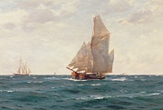Sailing Ship Paintings - A Ketch and a Brigantine off the Coast by Thomas J Somerscales