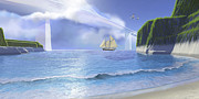 Island Imagination Prints - A Ketch Sails Underneath A Very High Print by Corey Ford