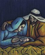 Baby Jesus Pastels Prints - A King is Born Print by Kamil Swiatek