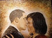 Barack And Michelle Obama Mixed Media Originals - A Kiss for A Queen  by Keenya  Woods