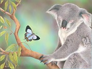 Koala Digital Art Prints - A Kiss for Koala Print by Karen Hull