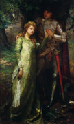 His Framed Prints - A knight and his lady Framed Print by William G Mackenzie