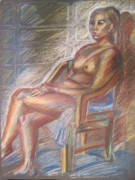 Figure Drawing Pastels Prints - A Lady On The Chair Print by Catherine Liu