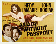 Lobbycard Framed Prints - A Lady Without Passport, John Hodiak Framed Print by Everett