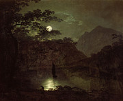 Light Reflection Framed Prints - A Lake by Moonlight Framed Print by Joseph Wright of Derby