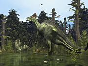 Mesozoic Era Posters - A Lambeosaurus Rears Onto Its Hind Legs Poster by Walter Myers