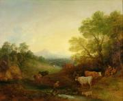 Sundown Paintings - A Landscape with Cattle and Figures by a Stream and a Distant Bridge by Thomas Gainsborough