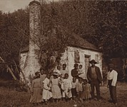 Slave Quarters Posters - A Large African Americans Family Posed Poster by Everett