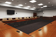 Colour-image Prints - A Large Conference Room With Tables Print by Christian Scully