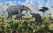 Elephant Grass Digital Art Framed Prints - A Large Female Deinotherium Framed Print by Mark Stevenson