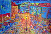 Night Lamp Painting Originals - A Late Night In Prague by Peter Silkov