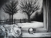 Cats Drawings Metal Prints - A Lazy Winter Day Metal Print by Carla Carson