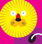 Cartoon  Lion Posters - A Leo Lion Poster by Venki