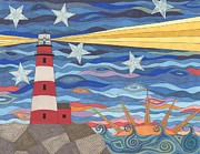 Lighthouse Drawings - A Light In The Night by Pamela Schiermeyer