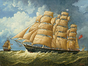 Eric Bellis Prints - A Likeness of the Clipper Ship Cutty Sark Sailing on a Reach Print by Eric Bellis