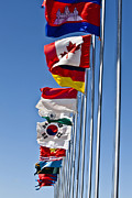 Unity Art - A Line Of Flags Represent The Countries by Stocktrek Images