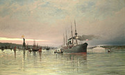Docks Paintings - A Liner and Other Shipping before the Statue of Liberty by Pieter Christiaan Cornelis Dommelshuizen