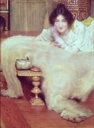 Chaise Painting Framed Prints - A Listener - The Bear Rug Framed Print by Sir Lawrence Alma-Tadema
