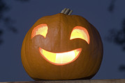 Jack-o-lanterns Photos - A Lit Halloween Pumpkin by Rich Reid