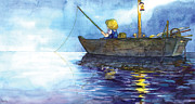 Fishing Boat Drawings Framed Prints - A Little Boy Who Is Fishing Framed Print by CHOI Haejung