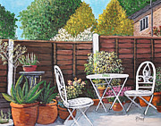 Yards Painting Framed Prints - A Little British Garden Framed Print by Reb Frost