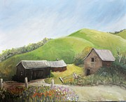 Old Barns Painting Prints - A Little Country Scene Print by Reb Frost