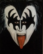Rock N Roll Paintings - A Little KIISS for my Husband by Leah Saulnier The Painting Maniac