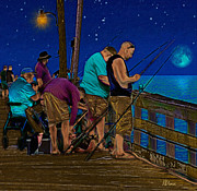 Moonlight Drawings Posters - A Little Night Fishing at the Rodanthe Pier 2 Poster by Anne Kitzman